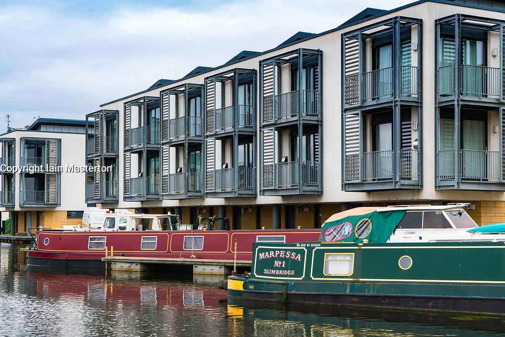 Modern apartments constructed beside Union Canal at Fountainbridge  in Edinburgh, Scotland, United Kingdom.
