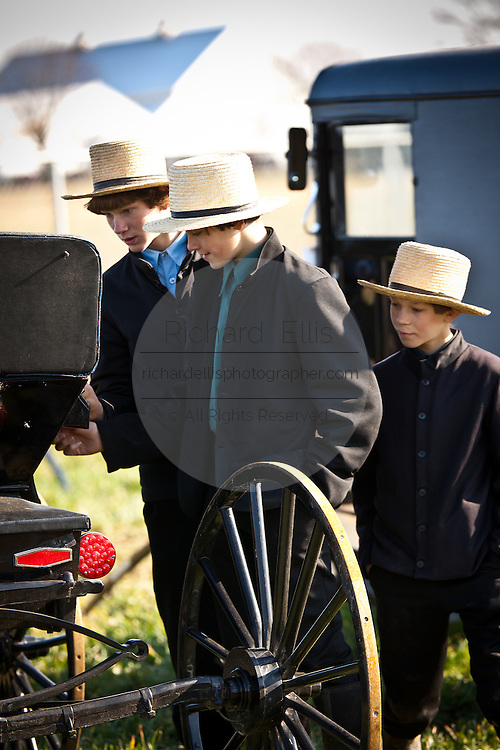 Young Amish men inspect a horse buggy during the Annual Mud Sale to support the Fire Department  in Gordonville, PA.