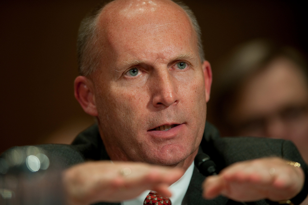 May 11,2010 - Washington, District of Columbia USA - Steven Newman, president and chief executive of Transocean Ltd. testifies before a Senate Environment and Public Works Committee hearing on the accident in the Gulf of Mexico involving the offshore oil rig Deepwater Horizon.(Credit Image: © Pete Marovich/ZUMA Press)