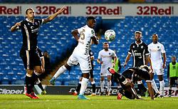 Caleb Ekuban of Leeds United heads the ball towards goal - Mandatory by-line: Robbie Stephenson/JMP - 09/08/2017 - FOOTBALL - Elland Road - Leeds, England - Leeds United v Port Vale - Carabao Cup