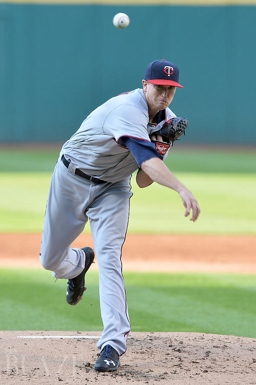Aug 2, 2016; Cleveland, OH, USA; Minnesota Twins starting pitcher Kyle Gibson (44) throws a pitch during the first inning against the Cleveland Indians at Progressive Field. Mandatory Credit: Ken Blaze-USA TODAY Sports
