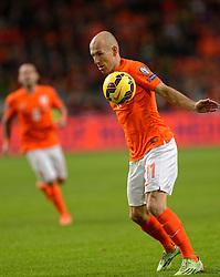 16-11-2014 NED: EK Kwalificatie Nederland - Letland, Amsterdam<br /> Nederland wint in de Arena met 6-0 van Letland / Arjen Robben