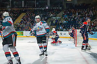 KELOWNA, CANADA -FEBRUARY 1: Myles Bell #29 of the Kelowna Rockets celebrates a goal against the Kamloops Blazers on February 1, 2014 at Prospera Place in Kelowna, British Columbia, Canada.   (Photo by Marissa Baecker/Getty Images)  *** Local Caption *** Myles Bell;