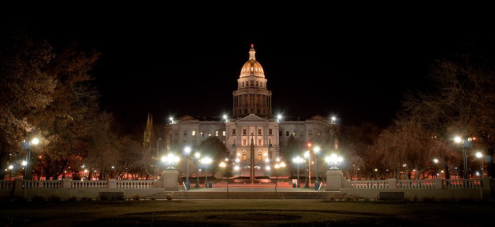 This picture shows the Colorado State Capitol building at night from a western view.<br /> <br /> Camera <br /> NIKON D5000<br /> Lens <br /> 18.0-55.0 mm f/3.5-5.6<br /> Focal Length <br /> 26<br /> Shutter Speed <br /> 8<br /> Aperture <br /> 13<br /> ISO <br /> 200
