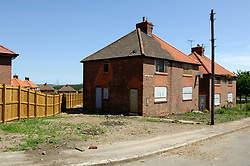 Boarded up council housing in ex mining village in County Durham, Houses will be demolished or refubished, 2005