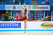 Ashirbayeva Sabina during qualifying at ribbon in Pesaro World Cup 11 April 2015.<br />