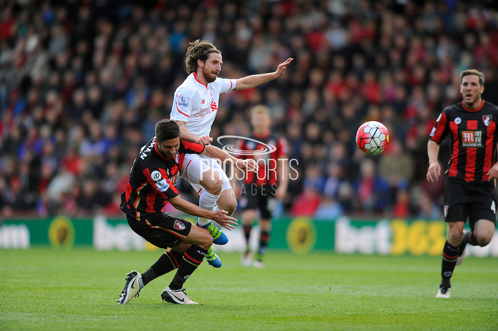 AFC Bournemouth midfielder Andrew Surman Liverpool midfielder Joe Allen clash during the Barclays Premier League match between Bournemouth and Liverpool at the Goldsands Stadium, Bournemouth, England on 17 April 2016. Photo by Graham Hunt.