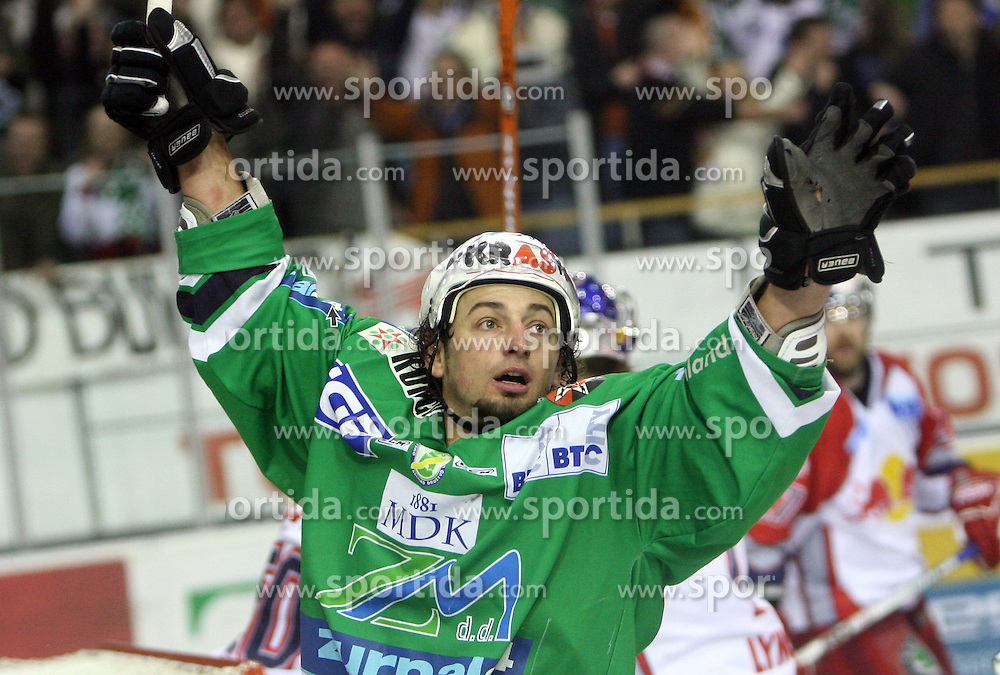 Brendan Yarema scored at sixth game of the Final of EBEL league (Erste Bank Eishockey Liga) between ZM Olimpija vs EC Red Bull Salzburg,  on March 25, 2008 in Arena Tivoli, Ljubljana, Slovenia. Red Bull Salzburg won the game 3:2 and series 4:2 and became the Champions of EBEL league 2007/2008.  (Photo by Vid Ponikvar / Sportal Images)..