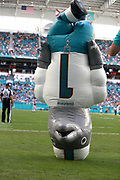 Sunday, October 13, 2019; Miami Gardens, FL USA;  Miami Dolphins mascot Air T.D. danced and entertained the fans during an NFL game against Washington at Hard Rock Stadium. The Redskins beat the Dolphins 17-16. (Kim Hukari/Image of Sport)