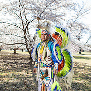 Larry Yazzie, Meskwaki Nation, at the National Arboretum, in Washington, D.C.. Yazzie travels the country educating people about Indigenous culture. John Boal Photography