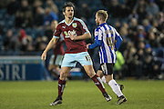 Joey Barton (Burnley) and Barry Bannan (Sheffield Wednesday) during the Sky Bet Championship match between Sheffield Wednesday and Burnley at Hillsborough, Sheffield, England on 2 February 2016. Photo by Mark Doherty.