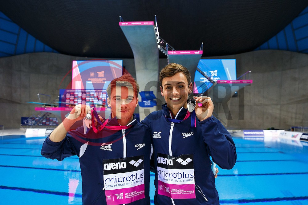 Daniel Goodfellow and Tom Daley of Great Britain celebrate with their medals after winning Silver in the Mens 10m Synchronised Platform Final - Mandatory byline: Rogan Thomson/JMP - 12/05/2016 - DIVING - London Aquatics Centre - Stratford, London, England - LEN European Aquatics Championships 2016 Day 4.