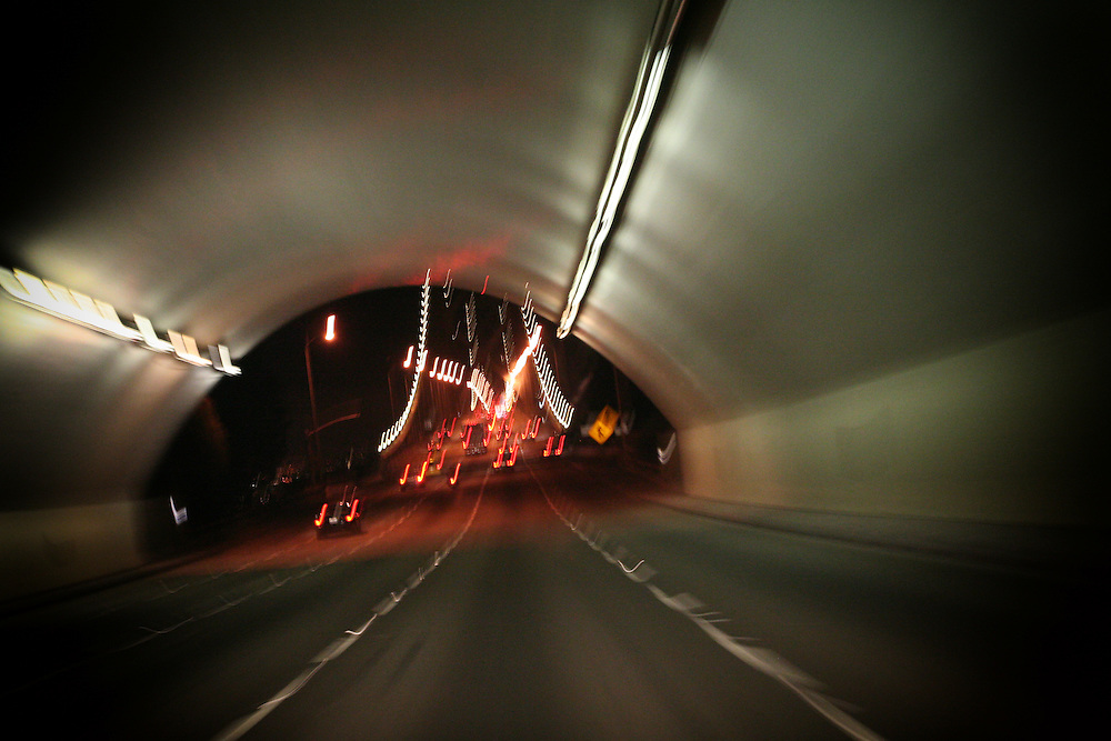 Oakland Bay bridge tunnel going into San Francisco.
