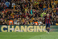 Barcelona´s Leo Messi celebrates a goal during 2014-15 Copa del Rey final match between Barcelona and Athletic de Bilbao at Camp Nou stadium in Barcelona, Spain. May 30, 2015. (ALTERPHOTOS/Victor Blanco)