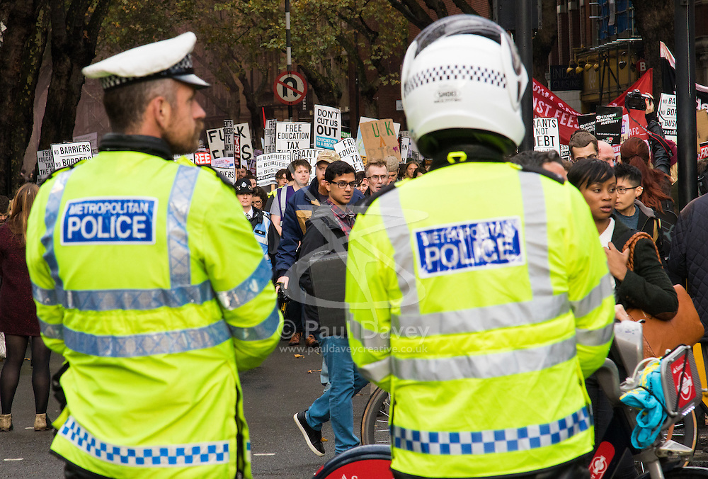 """London, November 4th 2015. Thousands of students prepare to march through the capital as part of their """"fight for free education,"""" protesting against student debt as well as demanding """"an end to the scapegoating and deportation of international students.""""  // Licencing: Please contact: paul@pauldaveycreative.co.uk Mobile 07966 016 296 Home 020 8969 6875"""