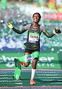 Gelete Burka (ETH) celebrates after winning the women's race in 2:22:47 in the 43rd Paris Marathon in IAAF Gold Label road race in Paris, Sunday, April 14, 2019. (Jiro Mochizuki/Image of Sport)
