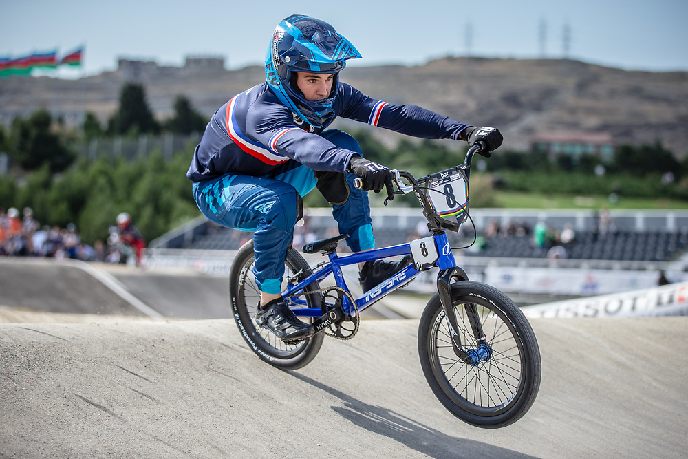 Men Elite #8 (RENCUREL Jeremy) FRA the 2018 UCI BMX World Championships in Baku, Azerbaijan.