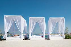 View of The Island Lebanon beach resort on a man made island, part of The World off Dubai coast in  United Arab Emirates