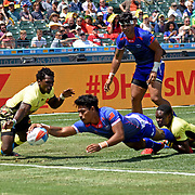 Manu Samoa showed skill and consistency in their 45-7 victory over Uganda at the World Cup 7's USA, AT&T Park, San Francisco, California, USA.  Manu Samoa returned to their refined form in the second half with several tries.  Photo by Barry Markowitz, 7/20/18, 2:30 pm