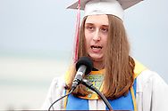 Valedictorian Tyler Smith speaks during the Northridge High School 79th annual commencement at the Northridge High School Stadium in Dayton, Friday, June 1, 2012.