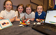 MuireannElliman, Kayleigh Faherty, Rhea Mannion and Rachelle Angland from St Annin's Roscahill with their  project at the Jnr Lego League organized through schools by the Galway Education Centre at The Radisson blu hotel<br />  Photo: Andrew Downes,  xposure