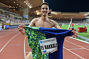 Soufiane El Bakkali (MAR) poses after winning the steeplechase in 8:04.82 during the Herculis Monaco in an IAAF Diamond League meet at Stade Louis II stadium in Fontvieille, Monaco on Friday, July 12, 2019. (Jiro Mochizukii/Image of Sport)