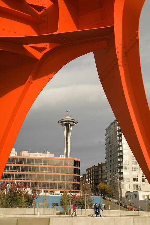 """North America, United States, Washington, Seattle.  Seattle Art Museum's Olympic Sculpture Park. """"Eagle"""" sculpture by Alexander Calder, and Seattle Space Needle."""