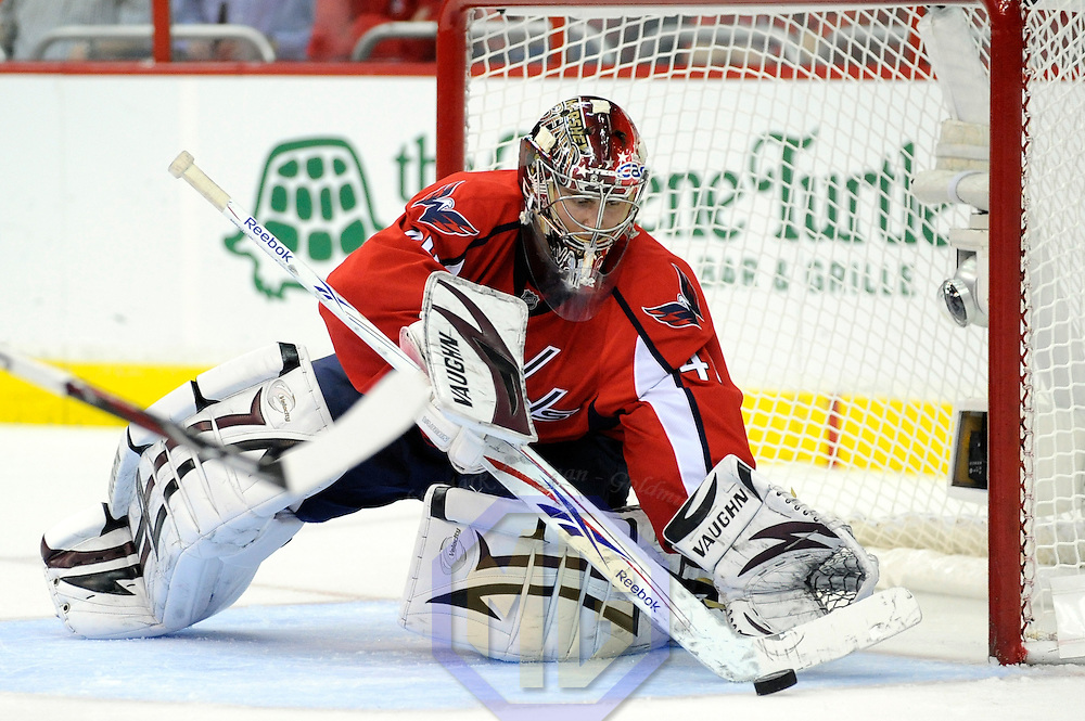 28 April 2009:  Washington Capitals goalie Simeon Varlamov (40) makes a save on a shot by the New York Rangers in the 2nd period in the seventh game of the Eastern Conference NHL quarterfinal playoff game at the Verizon Center in Washington, D.C.  The Washington Capitals defeated the New York Rangers 2-1 in the Eastern Conference NHL quaterfinal playoff to advance to the second round of the playoffs.