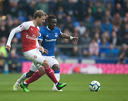 Nacho Monreal of Arsenal and Idrissa Gueye of Everton in action - Mandatory by-line: Jack Phillips/JMP - 07/04/2019 - FOOTBALL - Goodison Park - Liverpool, England - Everton v Arsenal - English Premier League