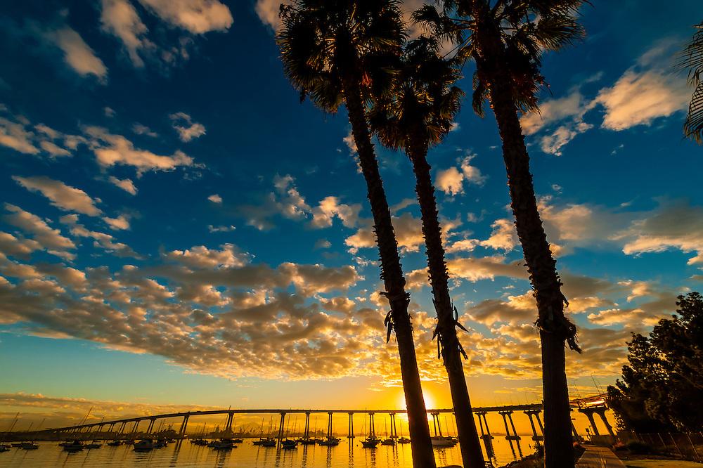 Coronado Bridge at sunrise, seen from Tidelands Park, Coronado Island (San Diego), California USA.