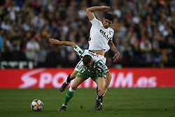 February 28, 2019 - Valencia, Valencia, Spain - Joaquin of Betis and Gonzalo Guedes battle for the ball during the Copa del Rey Semi Final match second leg between Valencia CF and Real Betis Balompie at Mestalla Stadium in Valencia, Spain on February 28, 2019. (Credit Image: © Jose Breton/NurPhoto via ZUMA Press)