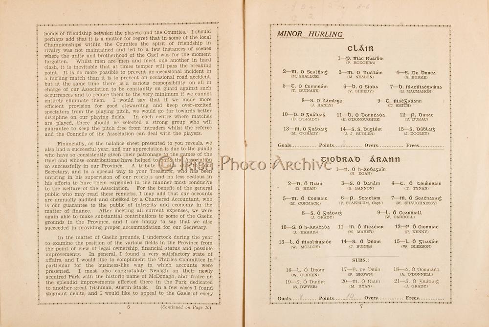 Munster Senior Hurling Championship - Final,.15071945MSHCF,.Limerick 02-06 v Tipperary 04-03, Minor Clare v Tipperary,.15.07.1945, 07.15.1945, 15th July 1945..Minor Clare, 1 P Rodgers, 2 M Shalloe, 3 M Nealon, 4 S Burke, 5 T Guinane, 6 V Sheedy, 7 B McMahon, 8 J Hanly, 9 T Smith, 10 D O'Grady, 11 B O'Donoghue, 12 P Durac, 13 M O'Grady, 14 J J Bugler, 15 J Dooley, ..Minor Tipperary,.1 N Egan, 2 D Ryan, 3 S Bannon, 4 T Ryan, 5 M Cormack, 6 P Stakelum Captain, 7 M Shaughnessy, 8 J Grady, 9 W Carroll, 10 J Harris, 11 M Maher, 12 P Kenny, 13 W Molloy, 14 J Burns, 15 W Gleeson, Subs, 16 W O'Brien, 17 P Brown, 18 A O'Donnell, 19 S Dwyer, 20 M Ryan, 21 J Grady,