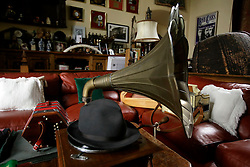 UK ENGLAND THAME 27AUG14 - The iconic hat of Bee Gees band member Maurice Gibb sits on top of an old grammophone in the recording studio of deceased Robin Gibb at his  home in Thame, Oxfordshire.<br /> <br /> jre/Photo by Jiri Rezac<br /> <br /> © Jiri Rezac 2014
