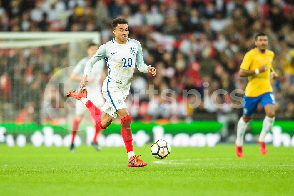 Jesse Lingard of England sides forward during the international friendly match between England and Brazil at Wembley Stadium, London, England on 14 November 2017. Photo by Darren Musgrove.