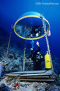 """Archaeologist Deborah Carson demonstrates use of the """"telephone booth"""", an emergency air pocket next to the wreck site.  Because the site is 130' deep, it is also useful for underwater conversations when necessary."""