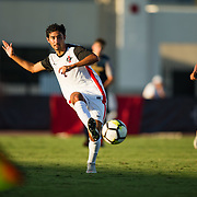 09 September 2018: San Diego State Aztecs midfielder Spender Madden (2) passes the ball up the field in the second half. The San Diego State men's soccer team beat UC Irvine in overtime 2-1 Sunday afternoon at the SDSU Sports Deck.