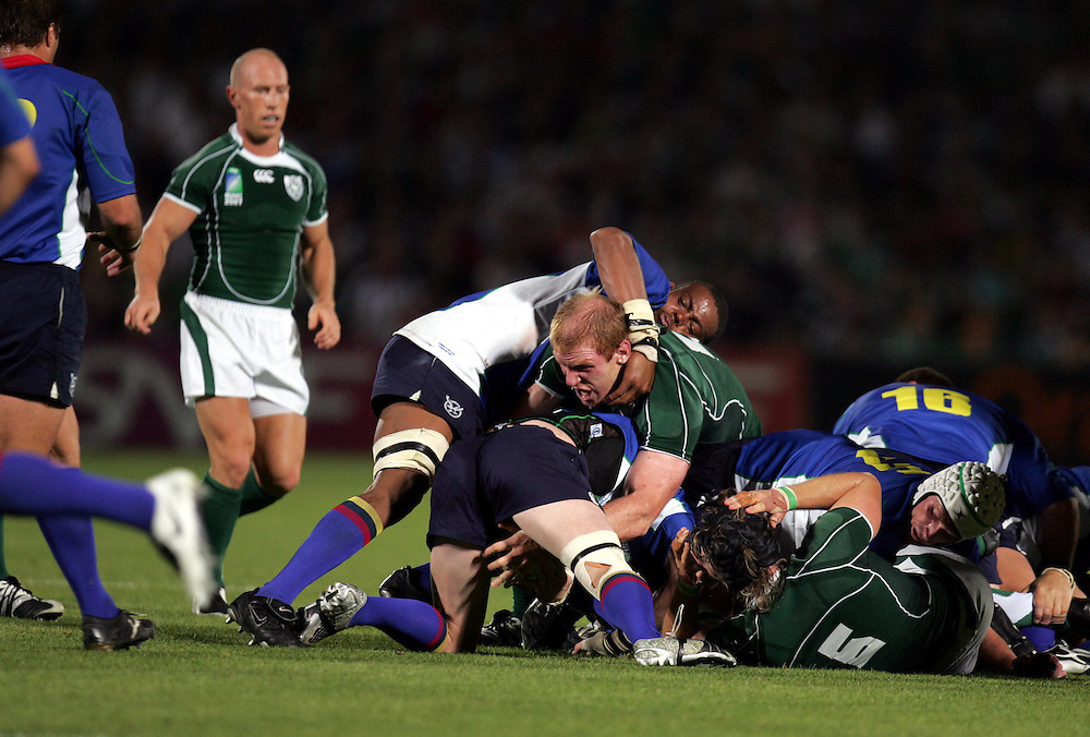 Paul O'Connell gets stuck in during the rugby union World Cup match Ireland vs Namibia, 09 September 2007 at the Chaban-Delmas stadium in Bordeaux, southwestern France.