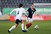 Kim Little (#8) of Scotland takes on Ekaterina Lutskevich (#4) of Belarus during the FIFA Women's World Cup UEFA Qualifier match between Scotland Women and Belarus Women at Falkirk Stadium, Falkirk, Scotland on 7 June 2018. Picture by Craig Doyle.