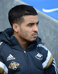 Swansea's new signing Kyle Naughton looks on from the bench - Photo mandatory by-line: Richard Martin Roberts/JMP - Mobile: 07966 386802 - 24/01/2015 - SPORT - Football - Blackburn - Ewood Park - Blackburn Rovers v Swansea City - FA Cup Fourth Round