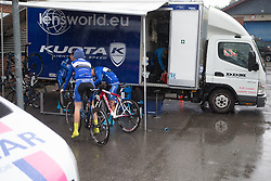 Lensworld Kuota Cycling Team riders try to find refuge from the torrential rain before Stage 3 of the Ladies Tour of Norway - a 156.6 km road race, between Svinesund (SE) and Halden on August 20, 2017, in Ostfold, Norway. (Photo by Balint Hamvas/Velofocus.com)