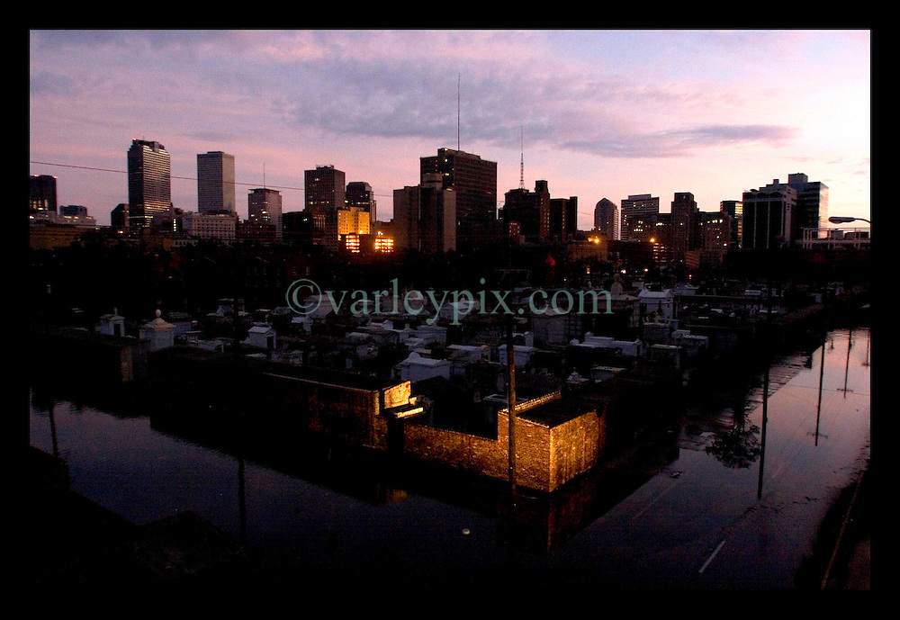 29th August, 2005. Hurricane Katrina hits New Orleans, Louisiana. The calm after the storm. Few lights shine out from the Crescent City in an eerie darkness following Katrina.
