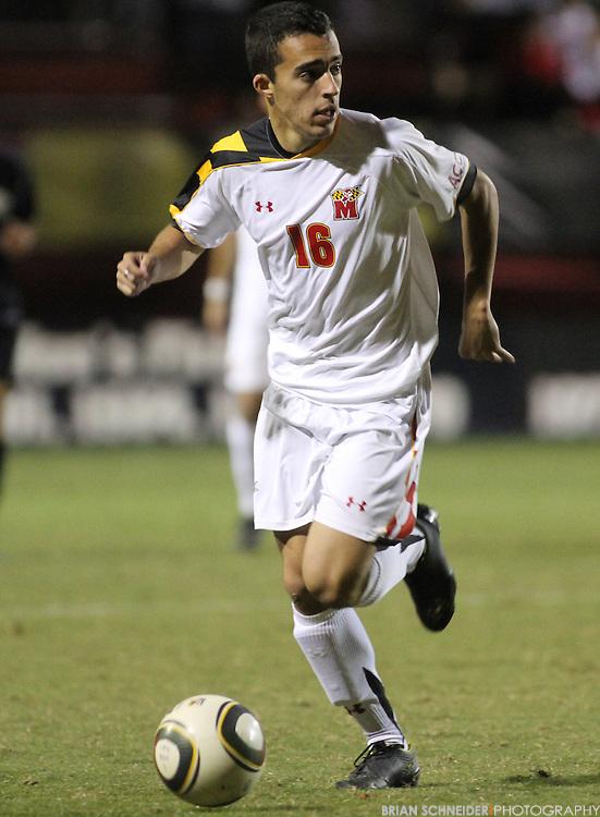 Oct 23, 2010; College Park, MD, USA; Maryland Terrapins midfielder Paul Torres (16) against the Wake Forest Demon Deacons. Mandatory Credit: Brian Schneider-www.ebrianschneider.com