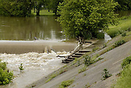 Normally, the trees at the top of these steps are on dry land, but the Great Miami River near Island MetroPark is on the rise near downtown Dayton, Wednesday, June 4, 2008.