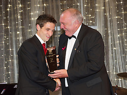 CARDIFF, WALES - Monday, October 8, 2012: Wales' Joe Allen receives the Senior Player of the Year Award from FAW President Trevor Lloyd Hughes during the FAW Player of the Year Awards Dinner at the National Museum Cardiff. (Pic by David Rawcliffe/Propaganda)