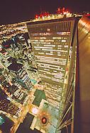 World Trade Center, Twin Towers, looking down at Austin Tobin Plaza, designed by Minoru Yamasaki, Manhattan, New York City, New York, International Style II, Night