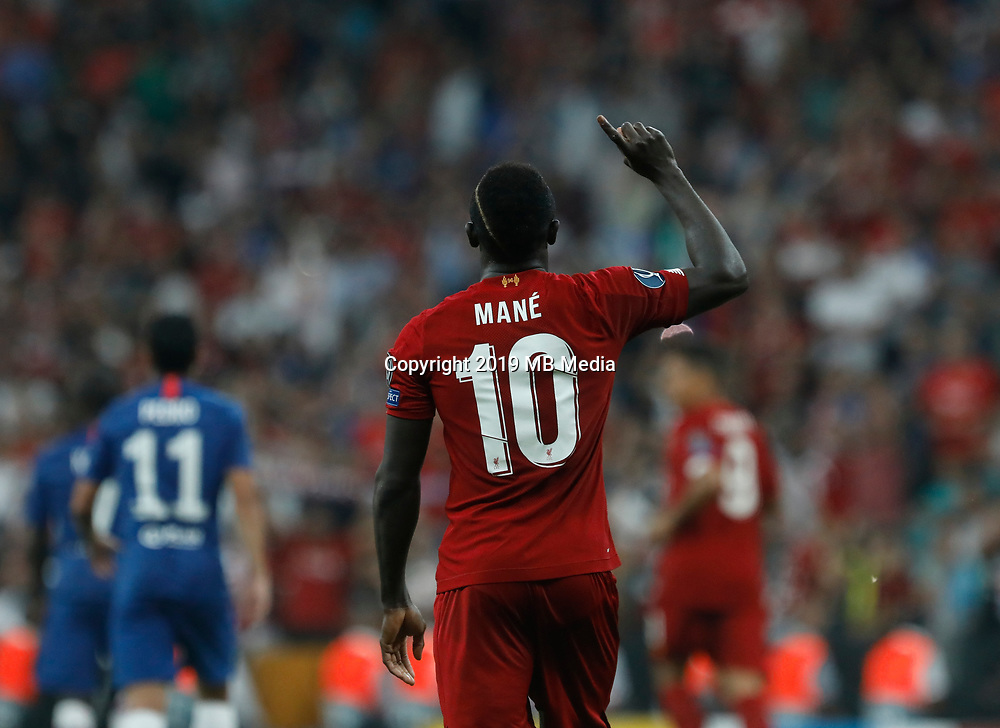 ISTANBUL, TURKEY - AUGUST 14: Sadio Mane (C) of Liverpool gestures celebrating his goal during the UEFA Super Cup match between Liverpool and Chelsea at Vodafone Park on August 14, 2019 in Istanbul, Turkey. (Photo by MB Media/Getty Images)