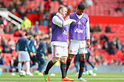 Wayne Rooney Forward of Manchester United talks with Marcus Rashford Forward of Manchester United in warm up during the Premier League match between Manchester United and Swansea City at Old Trafford, Manchester, England on 30 April 2017. Photo by Phil Duncan.