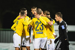 Players of Bravo celebrating first goal during football match between NŠ Mura and NK Bravo in 20th Round of Prva liga Telekom Slovenije 2019/20, on December 5, 2019 in Fazanerija, Murska Sobota, Slovenia. Photo by Blaž Weindorfer / Sportida