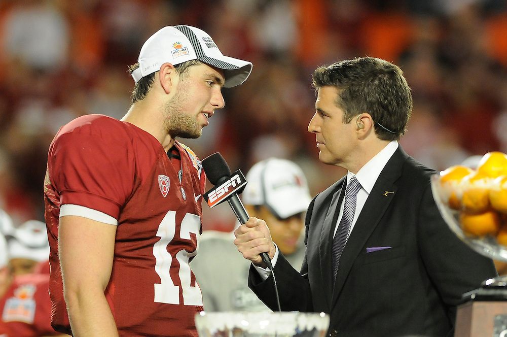 January 3, 2011: Andrew Luck of the Stanford Cardinal is interviewed by ESPN after the NCAA football game between the Stanford Cardinal and the Virginia Tech Hokies at the 2011 Orange Bowl in Miami Gardens, Florida. Stanford defeated Virginia Tech 40-12.