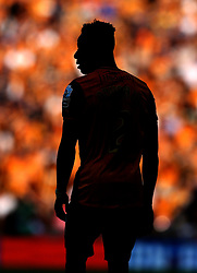 A silhouette of Moses Odubajo of Hull City at Wembley - Mandatory by-line: Robbie Stephenson/JMP - 28/05/2016 - FOOTBALL - Wembley Stadium - London, England - Hull City v Sheffield Wednesday - Sky Bet Championship Play-off Final